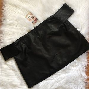 SIR Tops - Leather Off Shoulder Top